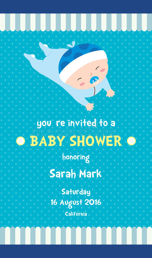 Boy Baby Shower Invitation Card stock illustration