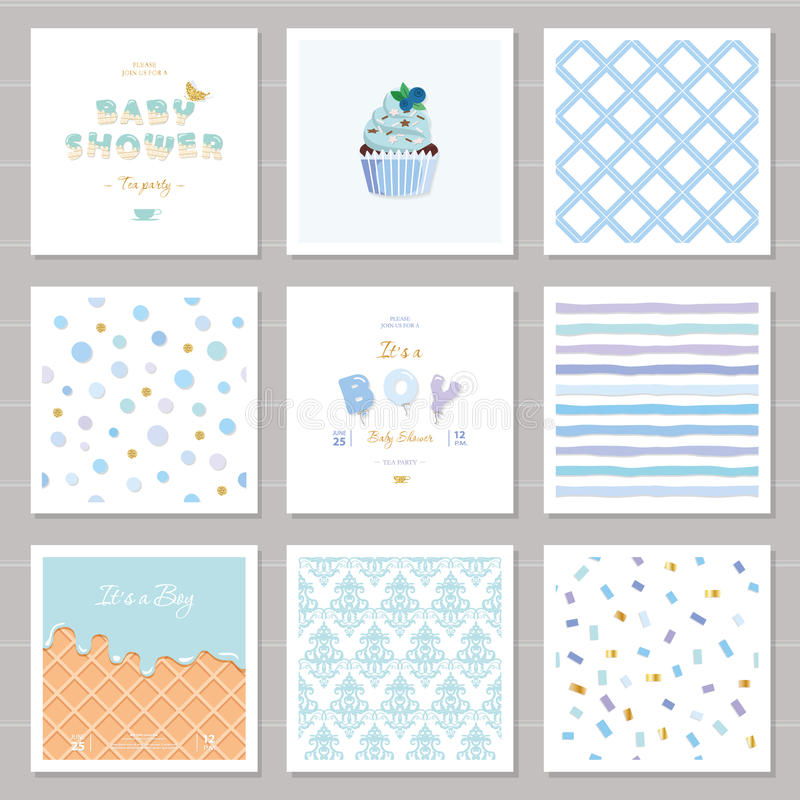 Boy baby shower templates seamless patterns set in pastel blue. Also can be used for birthday greeting cards, kids. Clothes, bakery, notebook cover design vector illustration