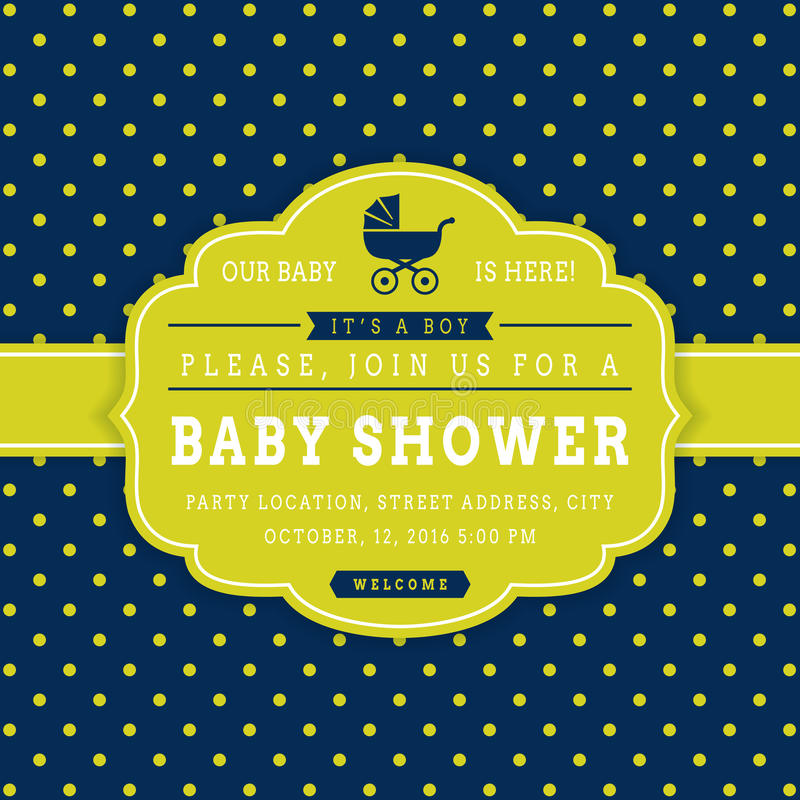 Boy baby shower. Vector card. royalty free illustration
