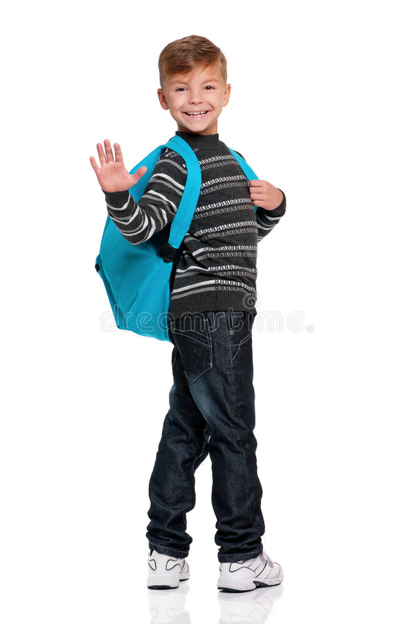 Download Boy with backpack stock photo. Image of education, background - 28930684