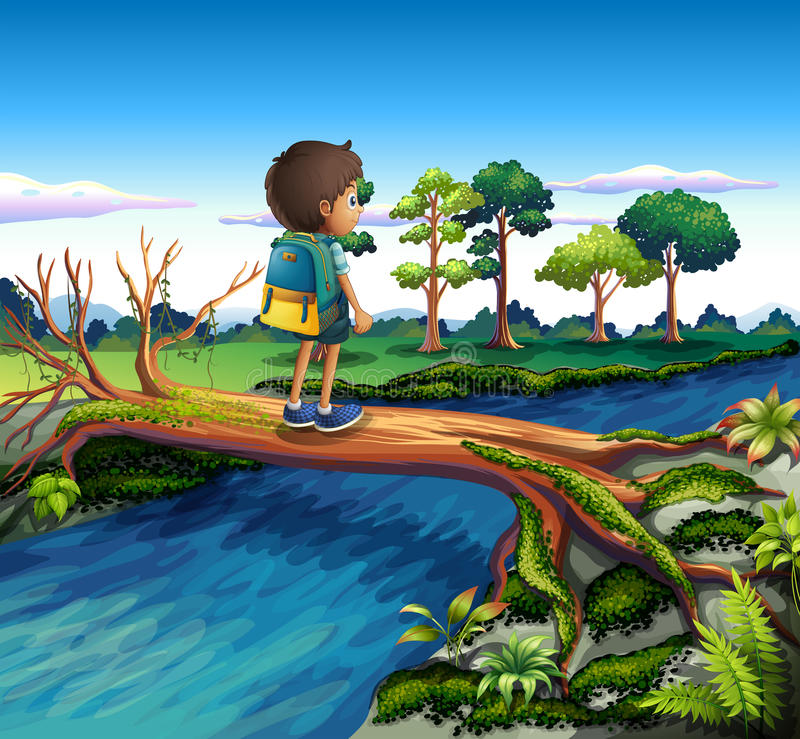 A boy with a backpack crossing the river royalty free illustration