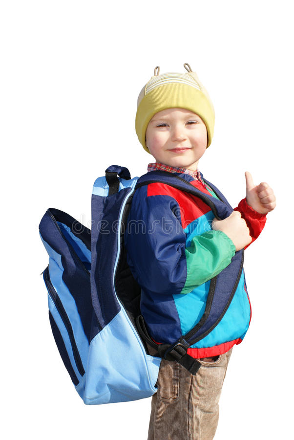 A boy with a backpack, insulated. The boy stands with open backpack, insulated royalty free stock images
