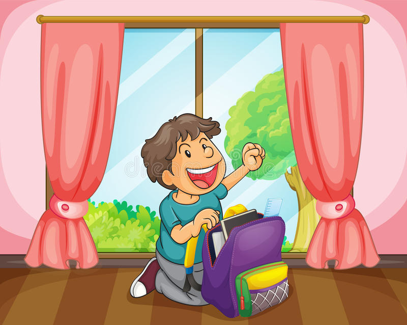 A boy with a bag royalty free illustration