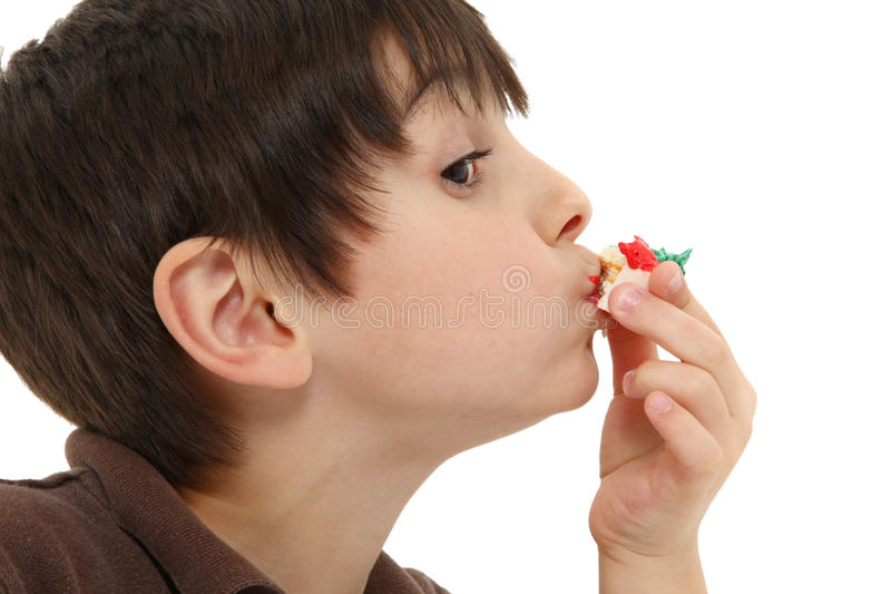Boy and Bakery Goods. Adorable 7 year olf french american boy eating small bakery treat over white background royalty free stock image