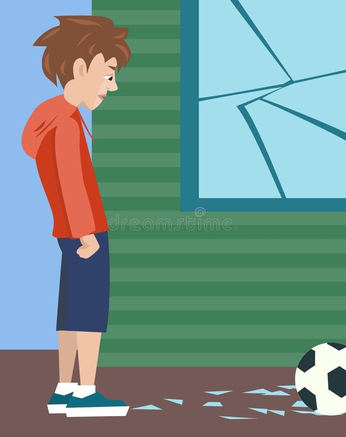 Boy with ball and broken glass, vector cartoon of problem child. Teenager boy with ball and broken glass, vector cartoon illustration of problem child stock illustration
