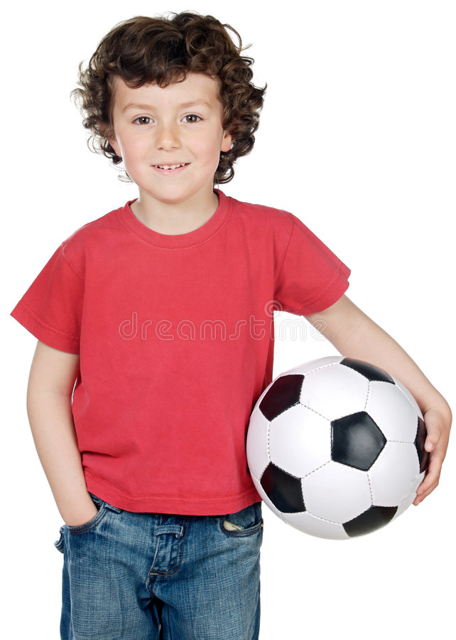 Boy with a ball of football stock image