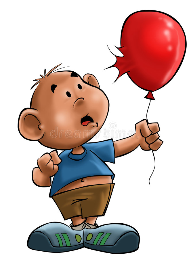 The boy with the balloon royalty free illustration