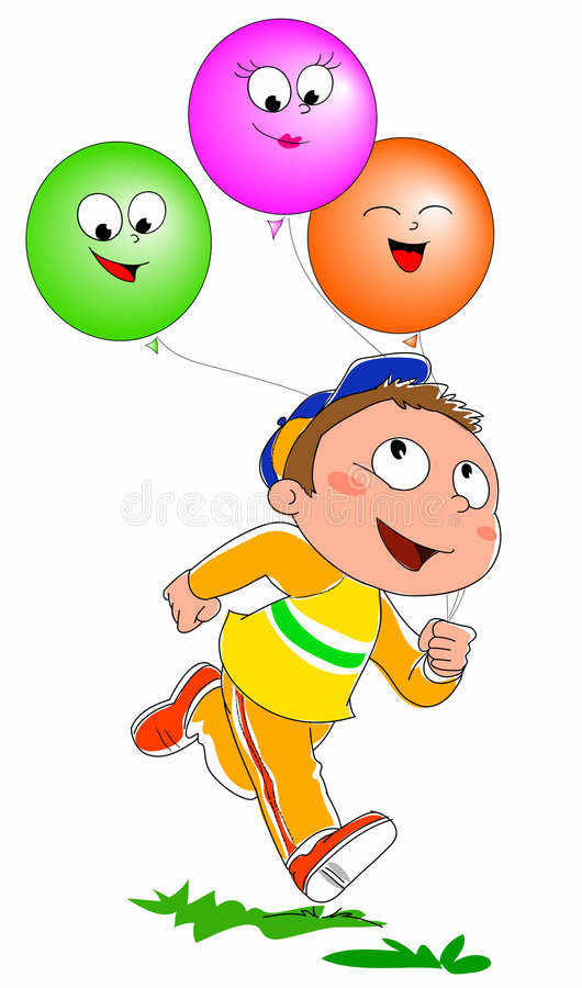 Boy with balloons vector stock illustration