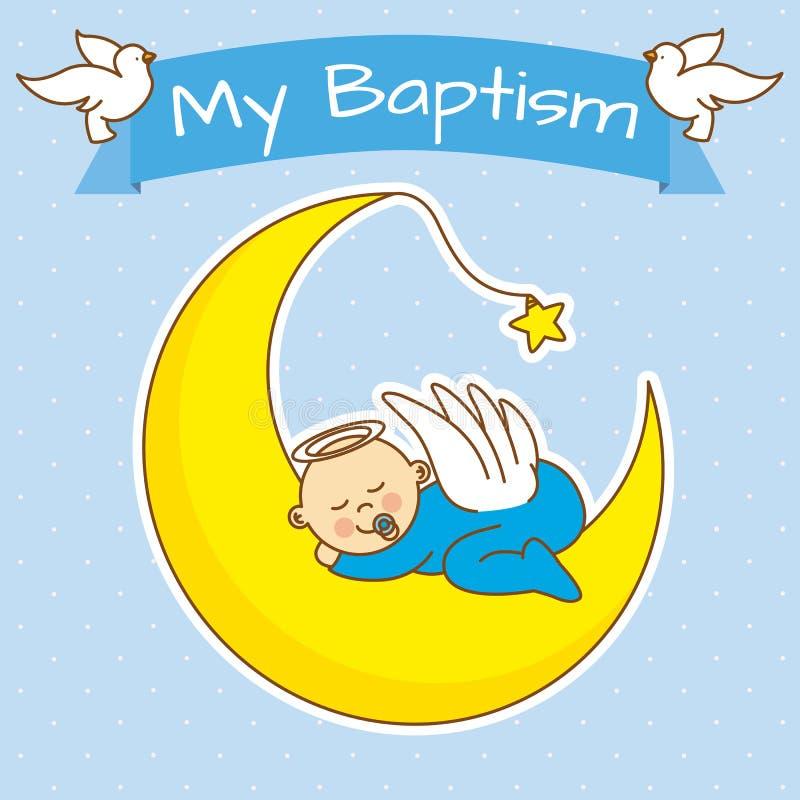 Boy baptism. Angel baby sleeping on the moon. boy baptism vector illustration