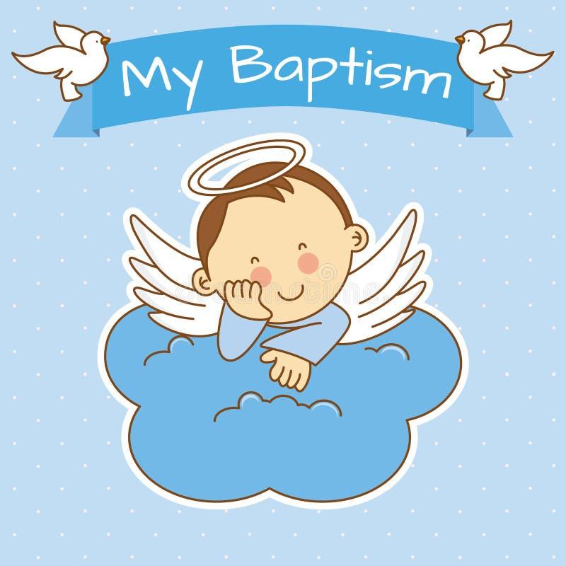 Boy baptism. Angel wings on a cloud. boy baptism royalty free illustration