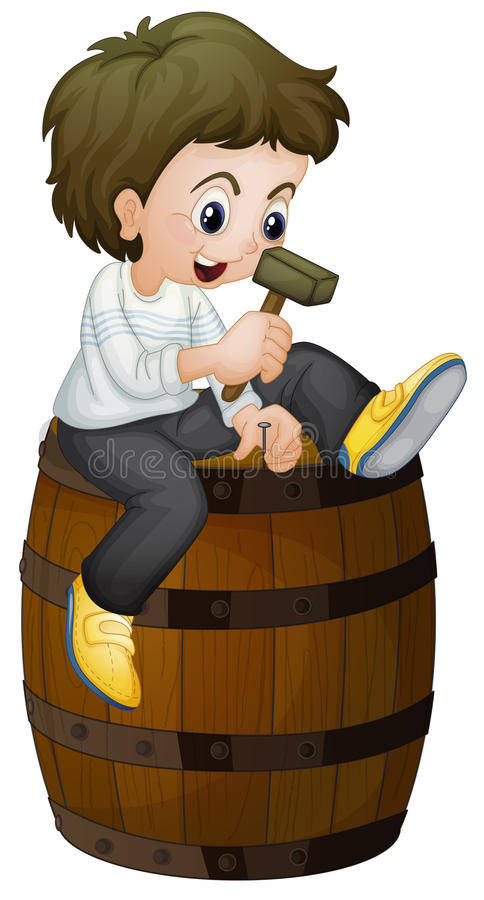 Boy On A Barrel Stock Image