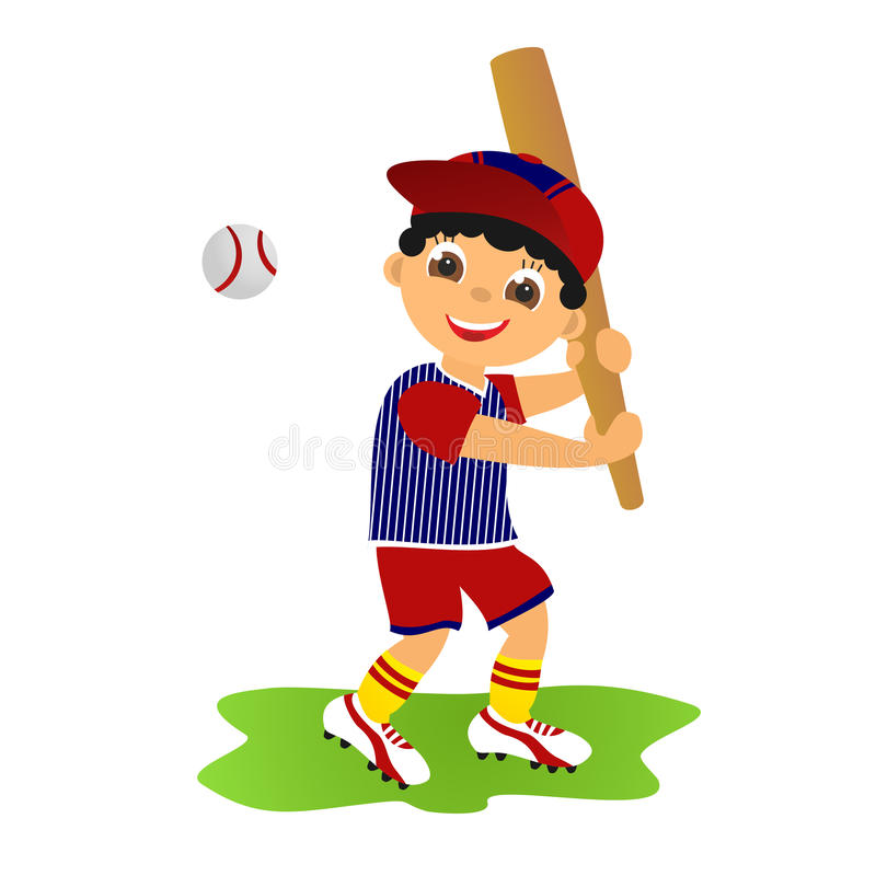 Boy baseball player royalty free illustration