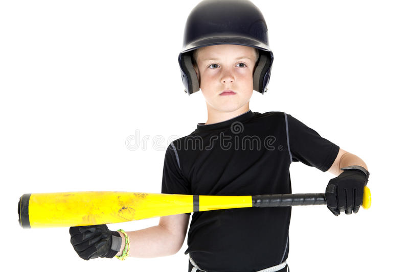 Boy baseball player with his bat ready to bunt. Boy baseball player bat ready to bunt stock photography