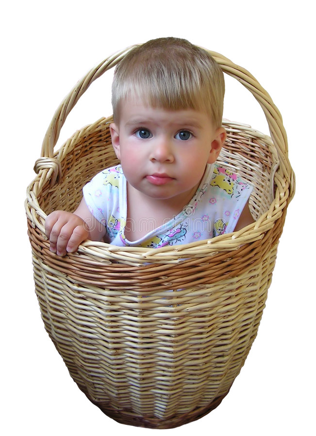 Download Boy in basket stock photo. Image of face, underwear, looking - 1665826