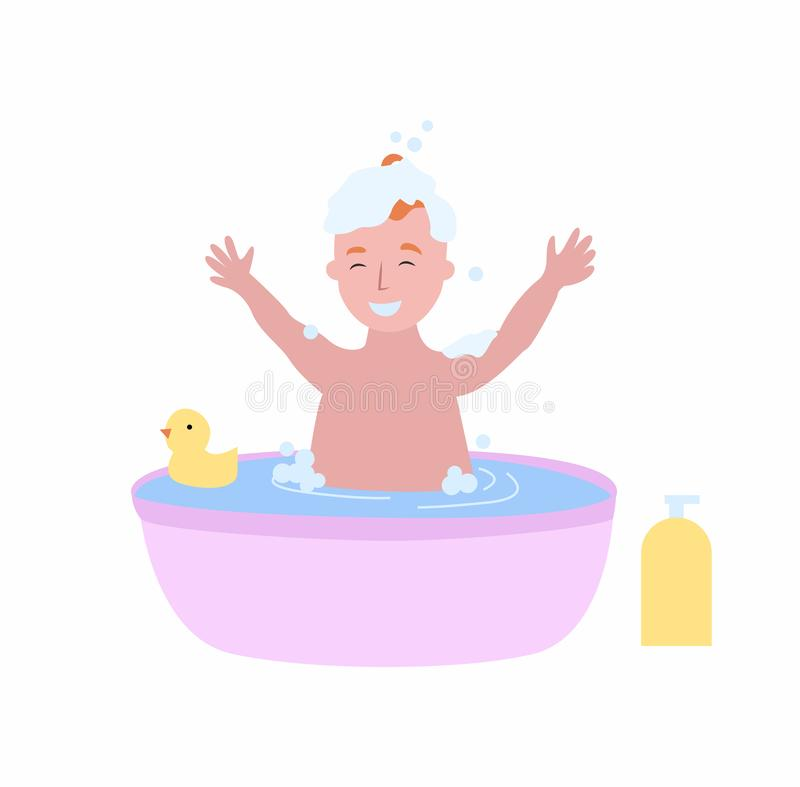Boy Bathing in Bathtub Full of Foam, Happy Child. Boy bathing in bathtub full of foam, happy adorable child washing with yellow rubber duck isolated. Vector kid vector illustration