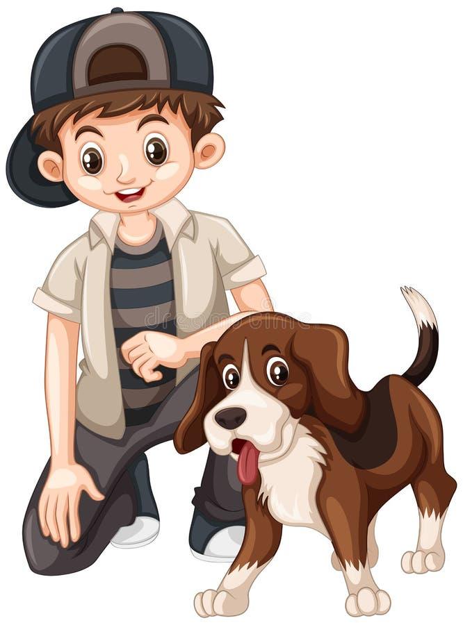 Boy and beagle dog. Illustration royalty free illustration