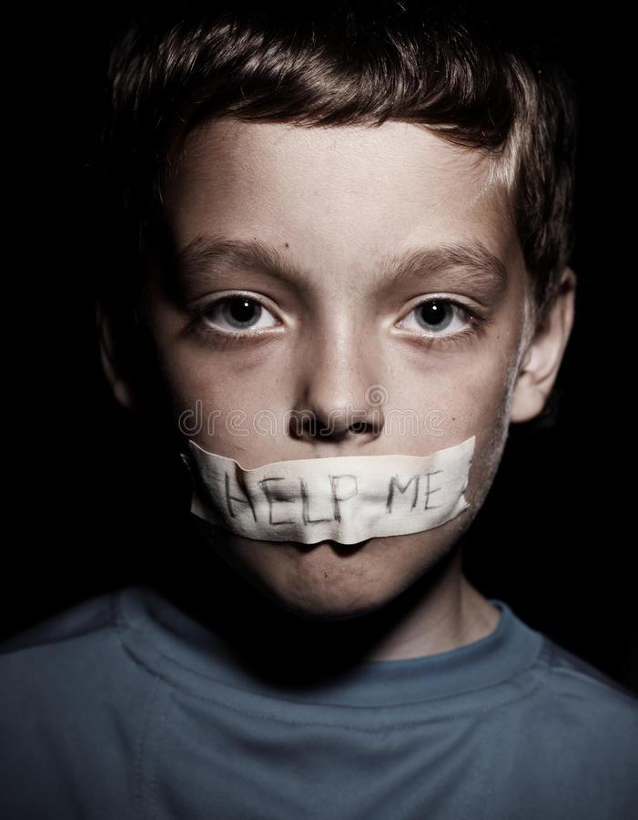 Boy begging for help royalty free stock photography
