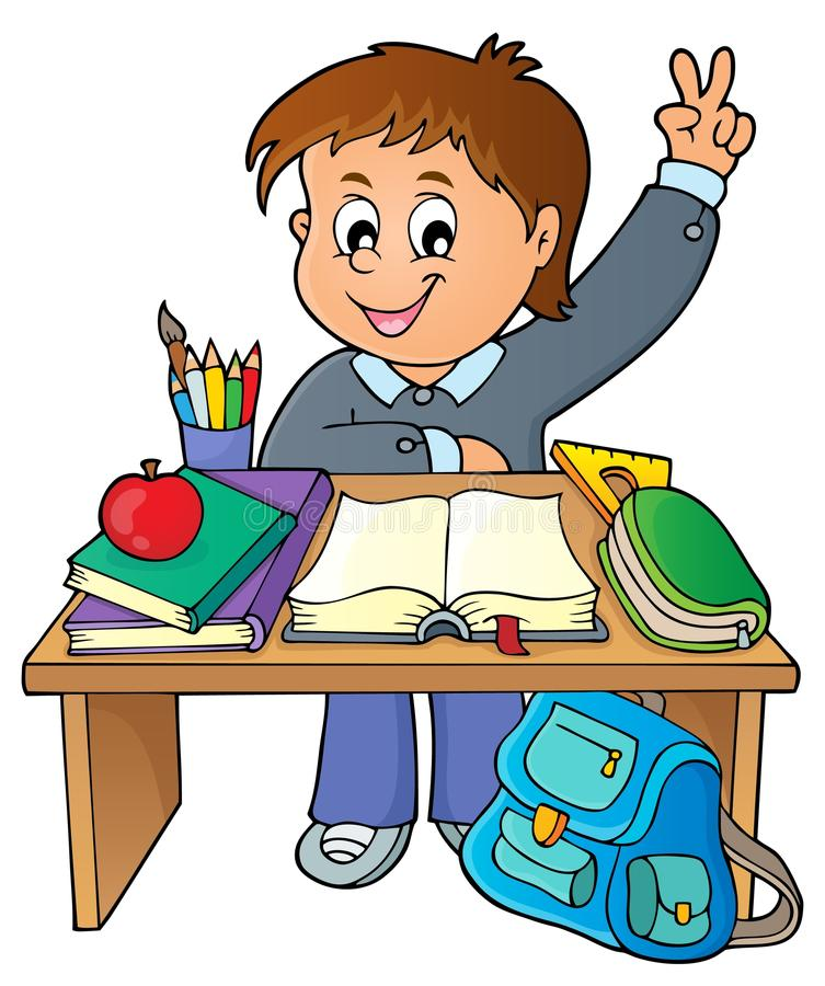 Boy behind school desk theme image 1. Eps10 vector illustration stock illustration