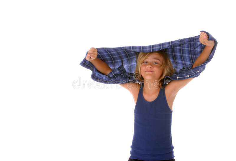 Boy being silly stock image