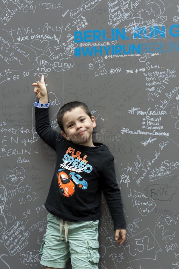 Boy in Berlin Marathon Expo royalty free stock image