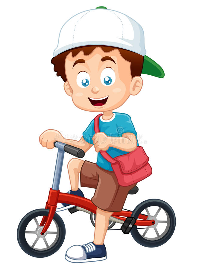 Boy on a bicycle stock illustration