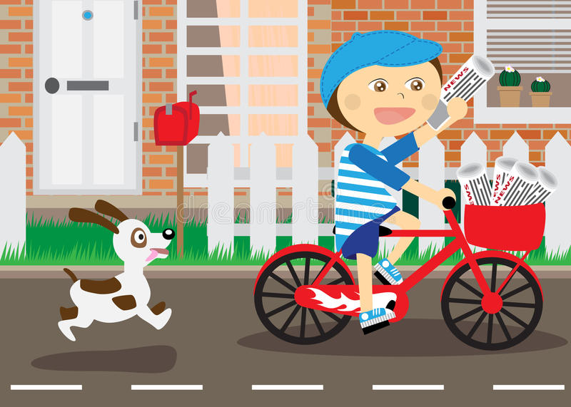Boy on bicycle, messenger of newspapers. Running dog royalty free illustration