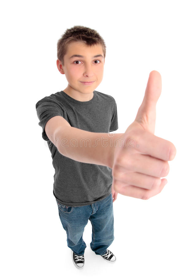 Boy big hand thunbs up royalty free stock photography