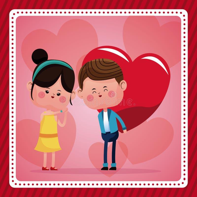 Boy big red haerts girl funny pink hearts background. Vector illustration eps 10 royalty free illustration