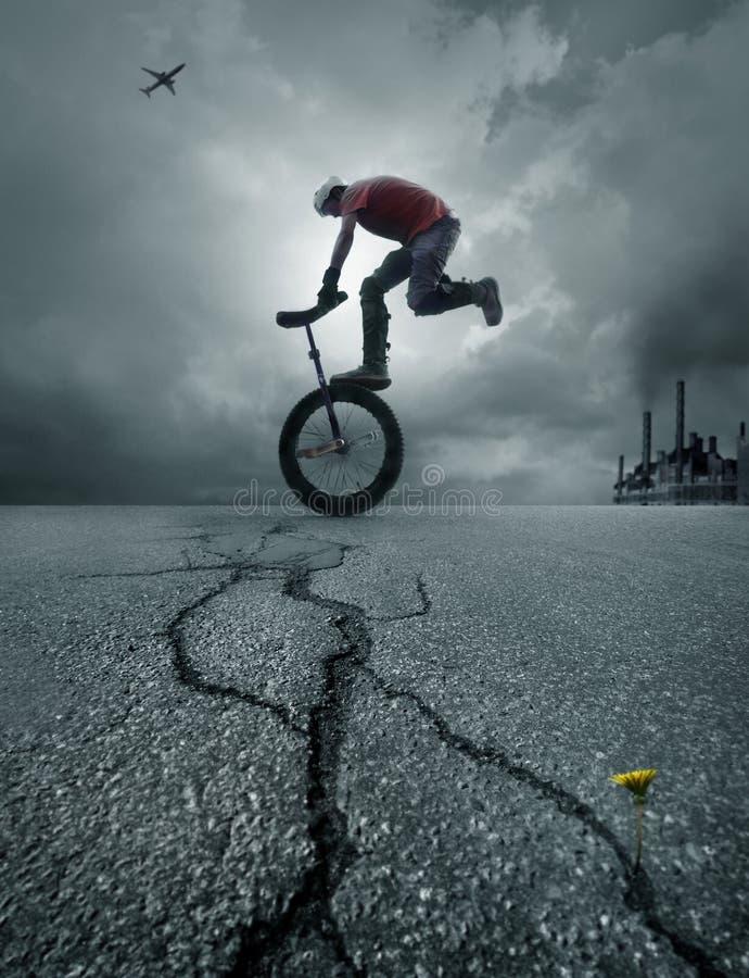 Boy on a bike. In the street