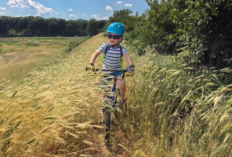 Boy on bike in field. Young boy wearing safety helmet riding bike through tall grasses along forest on sunny spring day royalty free stock image