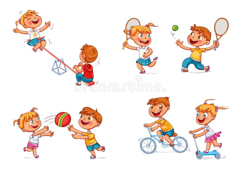 Children at the playground. Funny cartoon character. Boy on bike. Girl on scooter. Children ride on a swing. Boy and girl playing with a ball. Brother and sister royalty free illustration