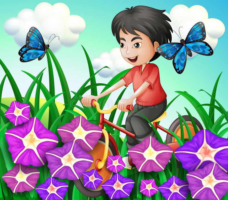 A boy biking in the garden with flowers and butterflies stock illustration