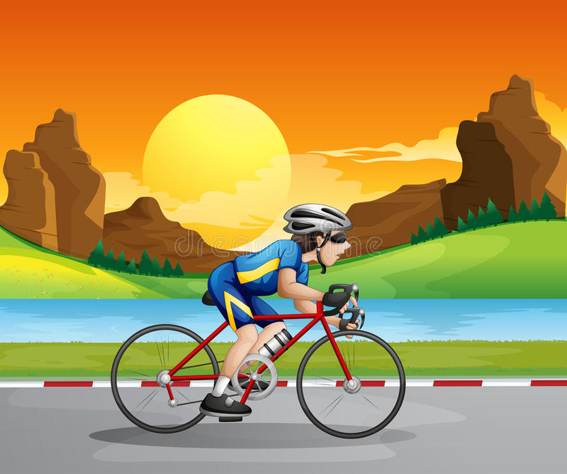 A boy biking. Illustration of a boy biking vector illustration