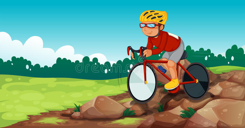 A boy biking at the rocky road royalty free illustration