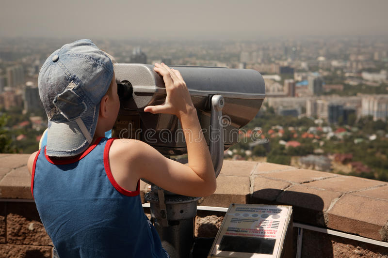 Download Boy with binoculars. stock image. Image of kazakhstan - 21653821