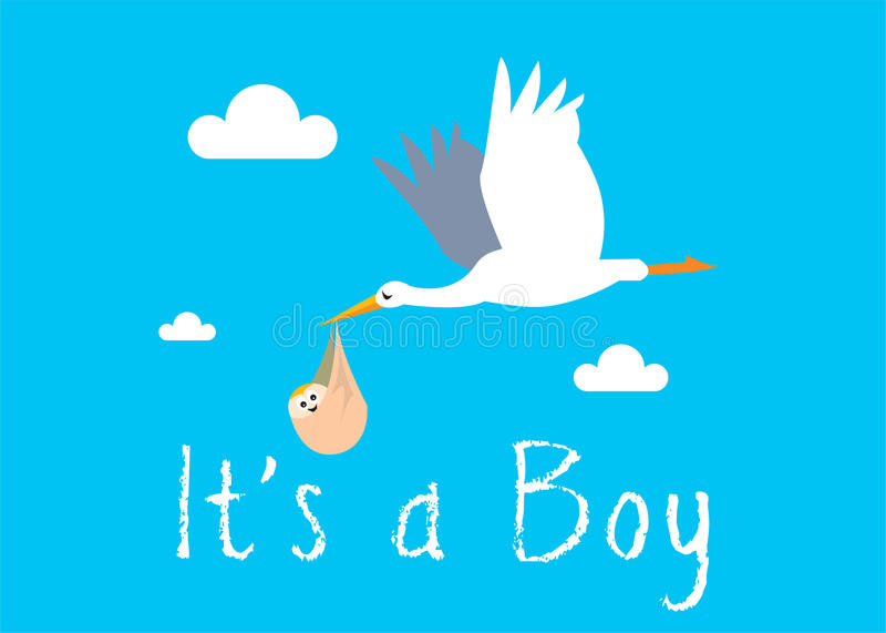 Download Boy Birth Illustration stock illustration. Image of stork - 18447607