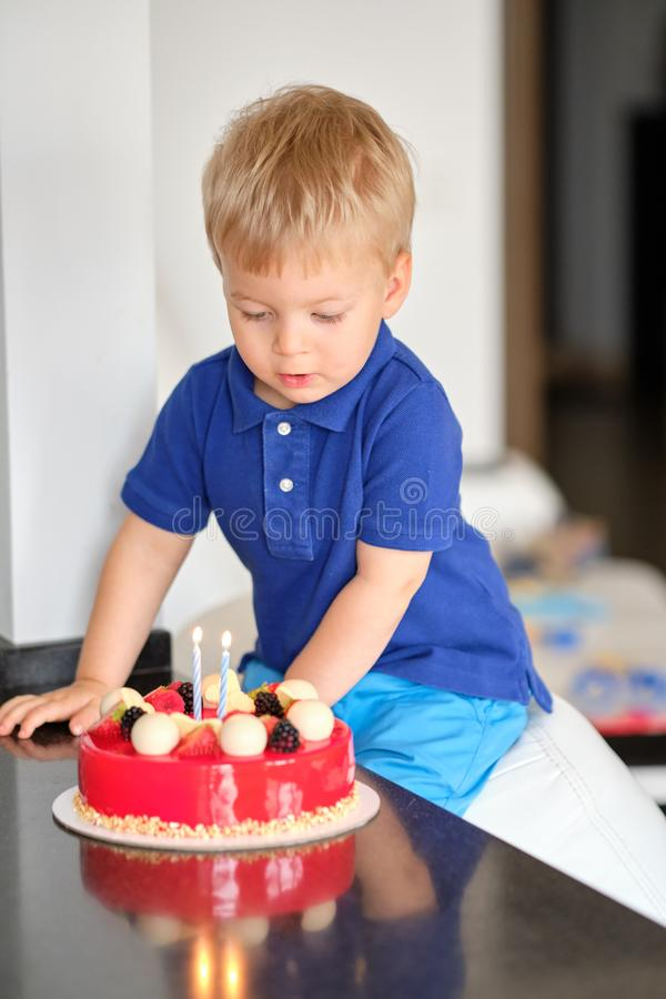 Boy with birthday cake. Two year old boy with birthday cake royalty free stock photography