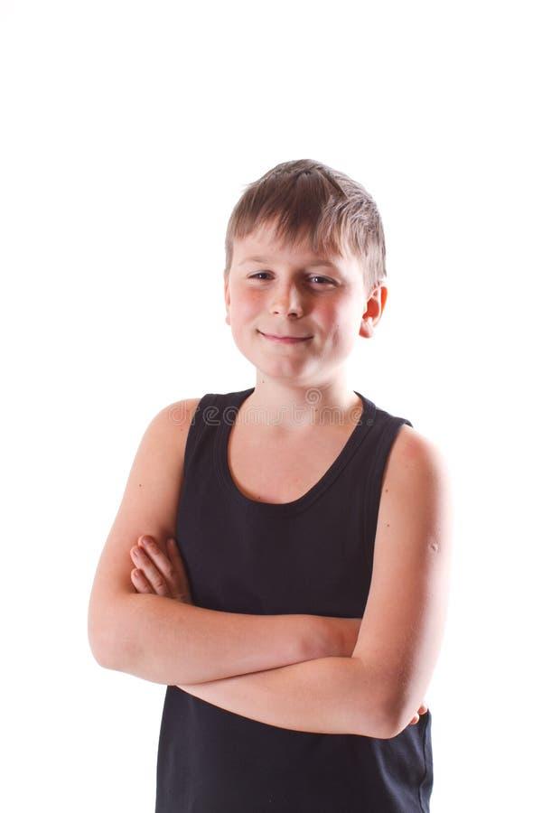Boy in black shirt stock photo
