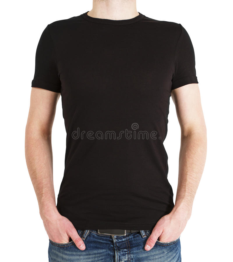 Boy in black t-shirt. On a white background stock photography