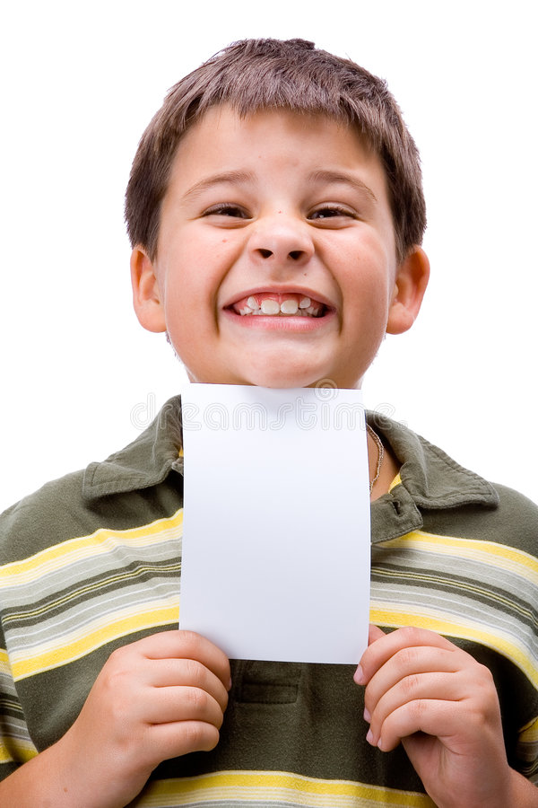 Boy with blank card 3 stock photos
