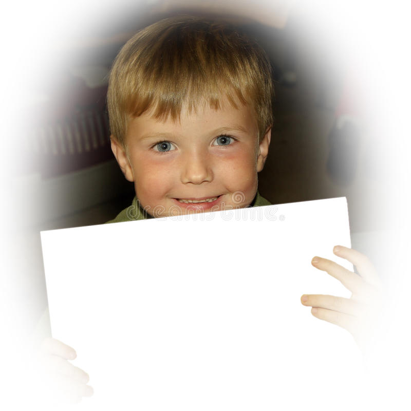 Boy with blank signboard royalty free stock photo