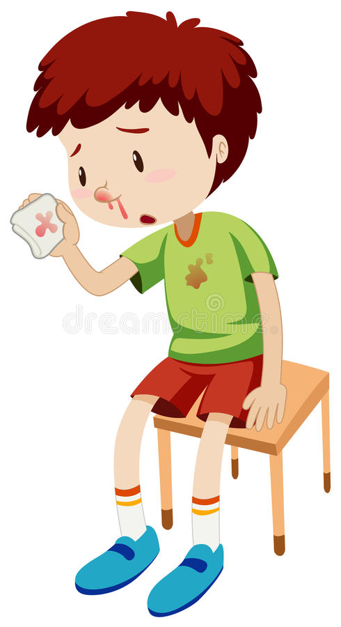 Boy with bleeding nose vector illustration