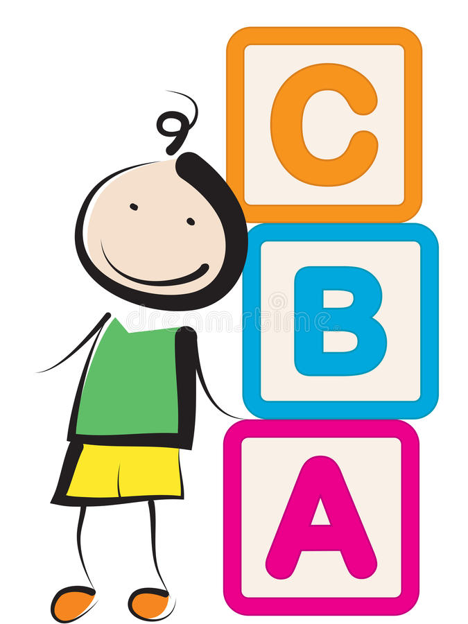 Boy with blocks. Boy girl with building blocks abc letters stock illustration
