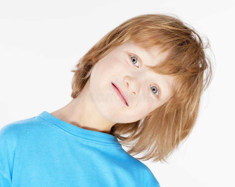 Boy with Blond Hair in Blue Top - Isolated on White stock photos