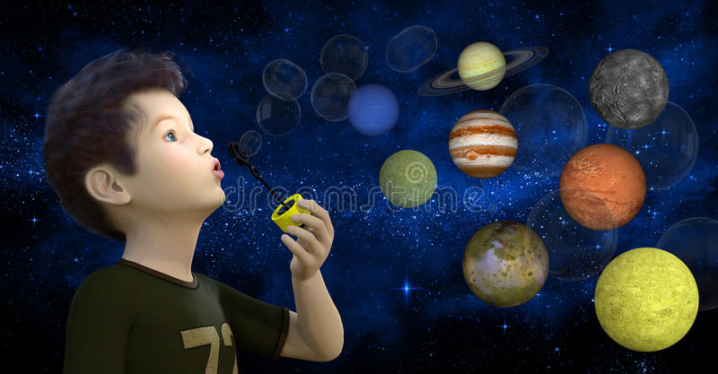 Boy Blowing Bubbles, Planets, Stars. Illustration of a young boy blowing bubbles that turn into planets and stars. In the background is the Milky Way. Abstract vector illustration