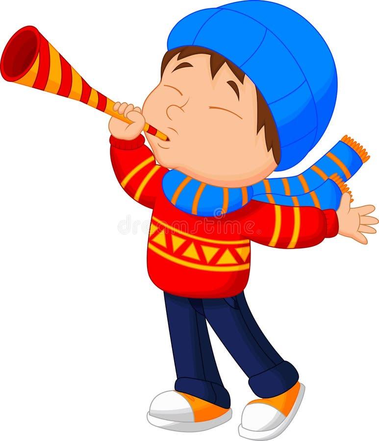 Boy blowing trumpet stock illustration