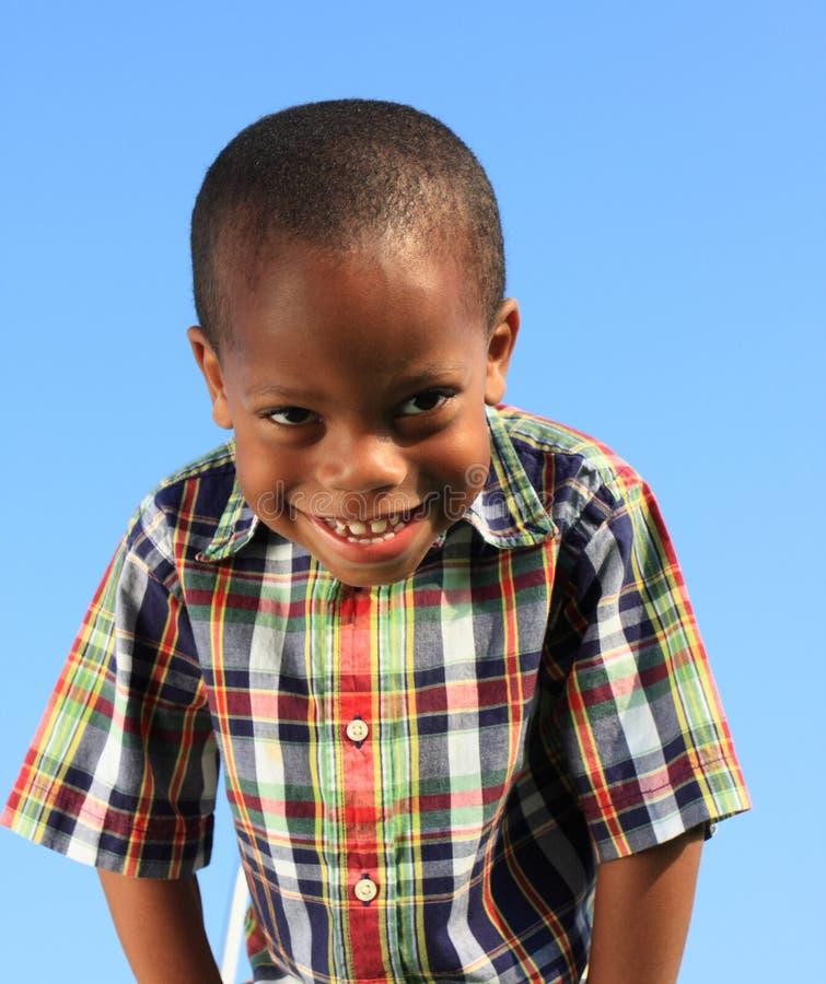 Boy on Blue Background stock image