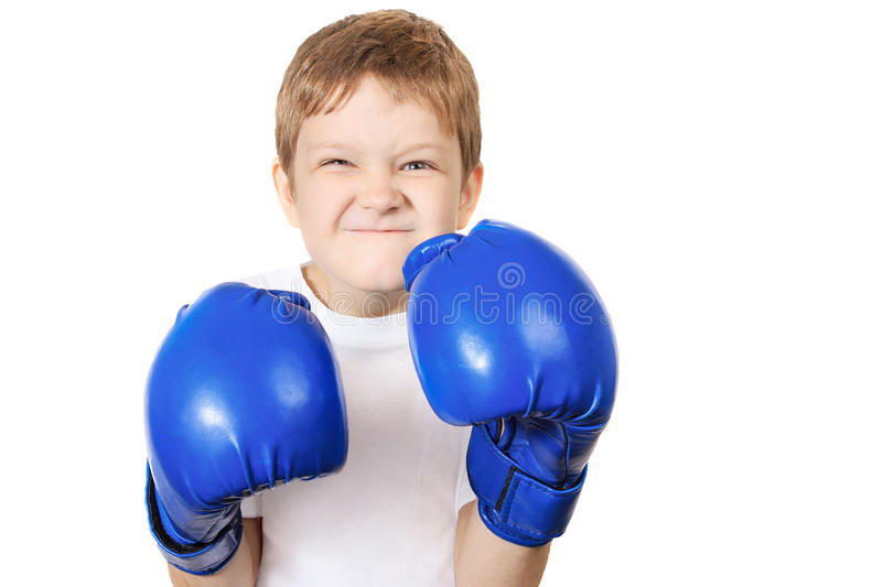 Boy in blue boxing gloves, isolated on white background. Healthy lifestyle concept stock photography