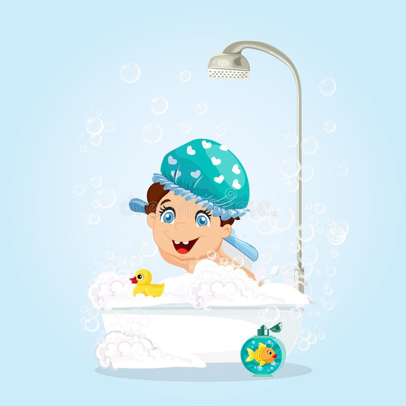 Boy in Blue Hat Washing in Bathtub with Toys. Cute Little Smiling Boy with Blue Eyes Dressed in Blue Hat Washing in Bathtub with Foam, Bubbles and Shower, Duck stock illustration