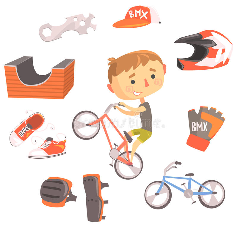 Boy BMX Bike Rider, Kids Future Dream Professional Occupation Illustration With Related To Profession Objects. Smiling Child Carton Character With Career vector illustration